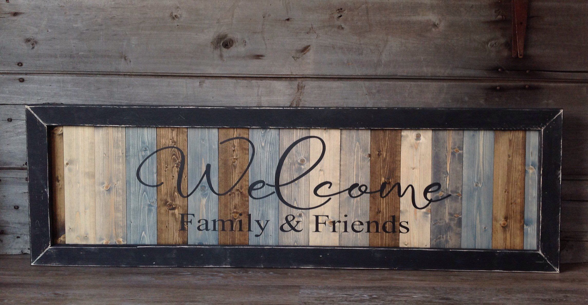 Welcome Family Friends Wood Sign Welcome Sign Wood Etsy Wood Signs Farmhouse Wall Decor Grey Wood Sign