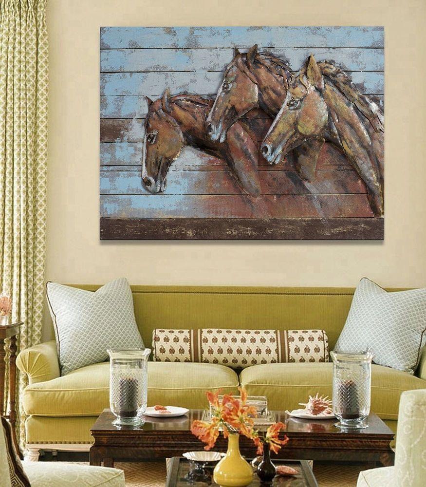 Best Price Custom Oil Painting Wood Garden Horses Outdoor Decor 3d