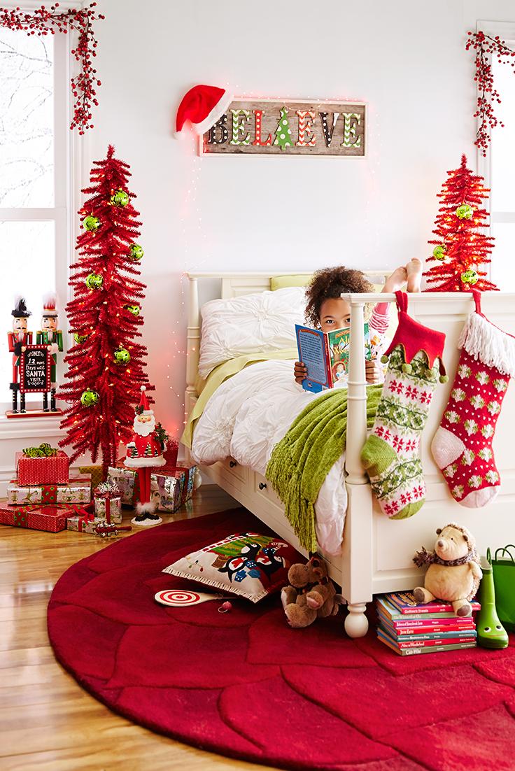 Pre Lit Skinny Entryway Tree Red 5 Christmas Kids Room Kids Christmas Bedroom Christmas Decorations Bedroom