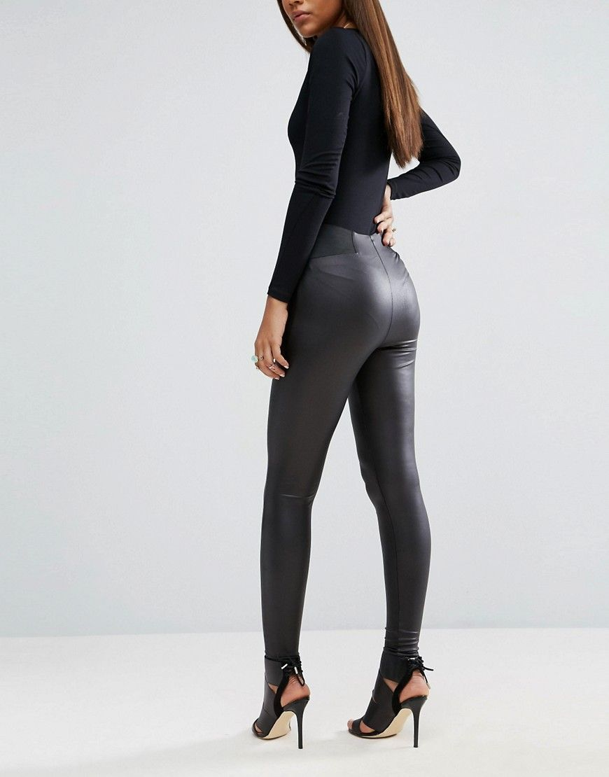 purchase cheap a01a4 88eee ASOS TALL Leather Look Leggings with Elastic Slim Waist - Black