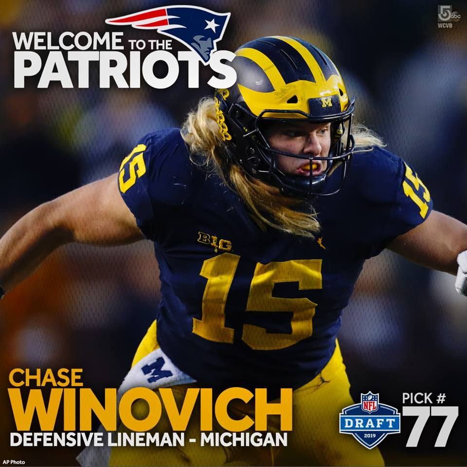 Welcome To New England The Patriots Select Michigan Olb Chase Winovich In The 3rd Round Of The Nfldraft Welcome To Patriots Patriots Fans Sports Pictures