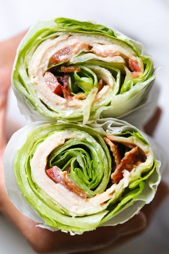 Photo of Chicken Club Salad Wrap Sandwich, an idea for a low-carb lunch that …