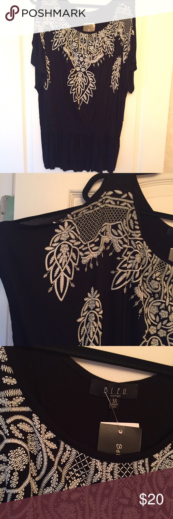 Black & white embroidered top Plus size 3X Brand-new with tags! Black and white embroidered top with cut out sleeves plus Size 3X Tops Blouses