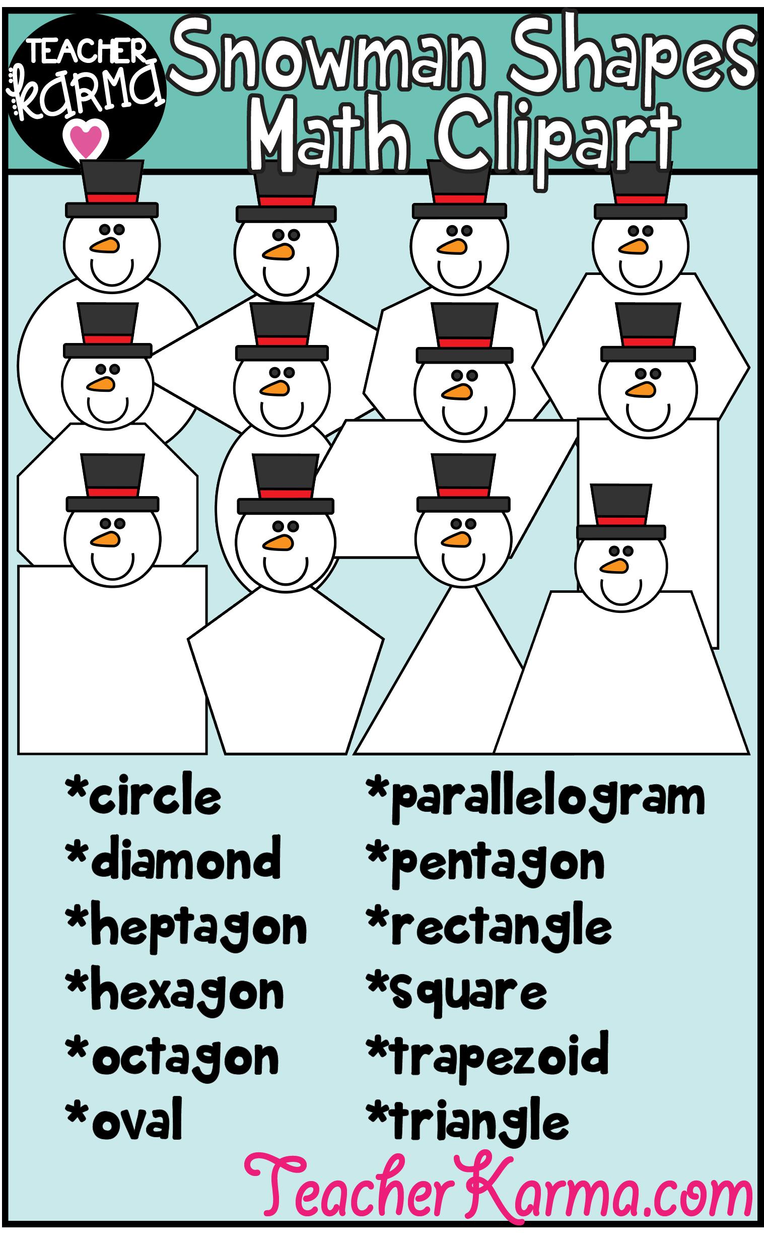 Snowman Shapes Clipart Christmas