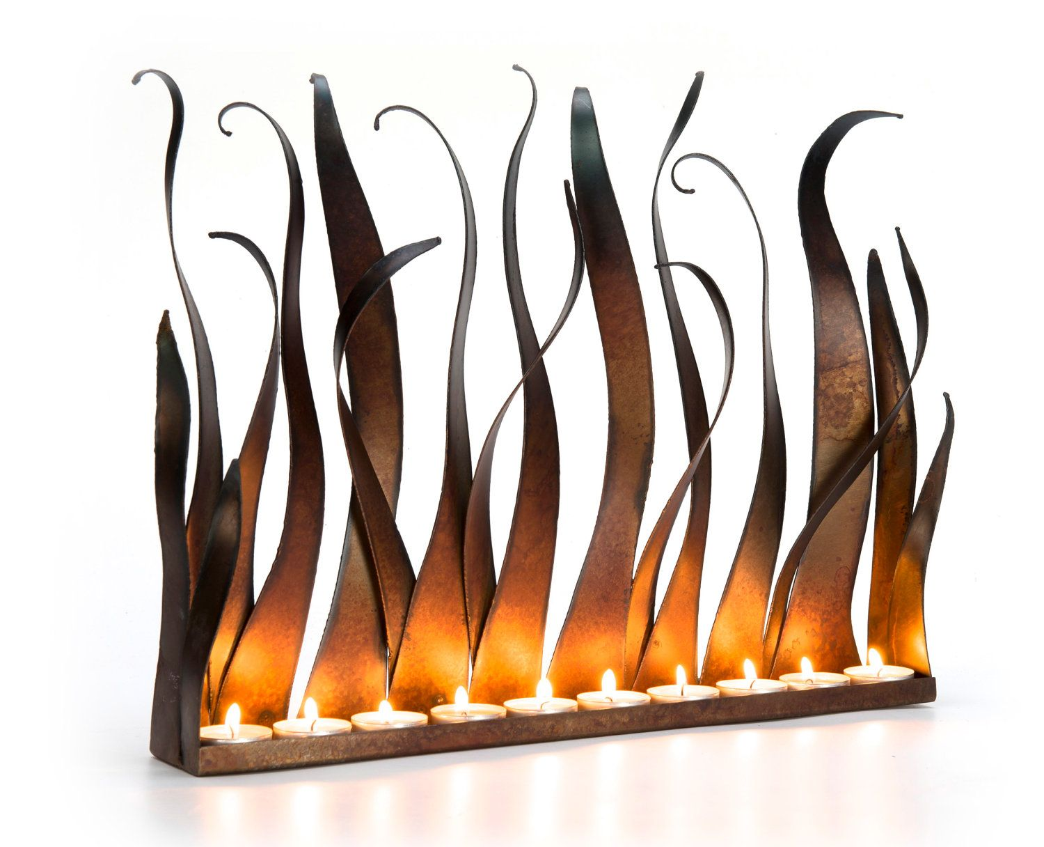metal candle holder tabletop sculpture by aurawaterfalls
