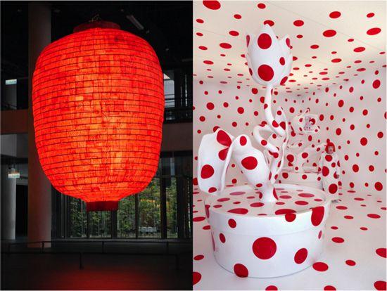 "Left: Aida Makoto, ""Heart,"" 2011. Right: Yayoi Kusama, ""With All My Love for the Tulips, I Pray Forever,"" 2011."