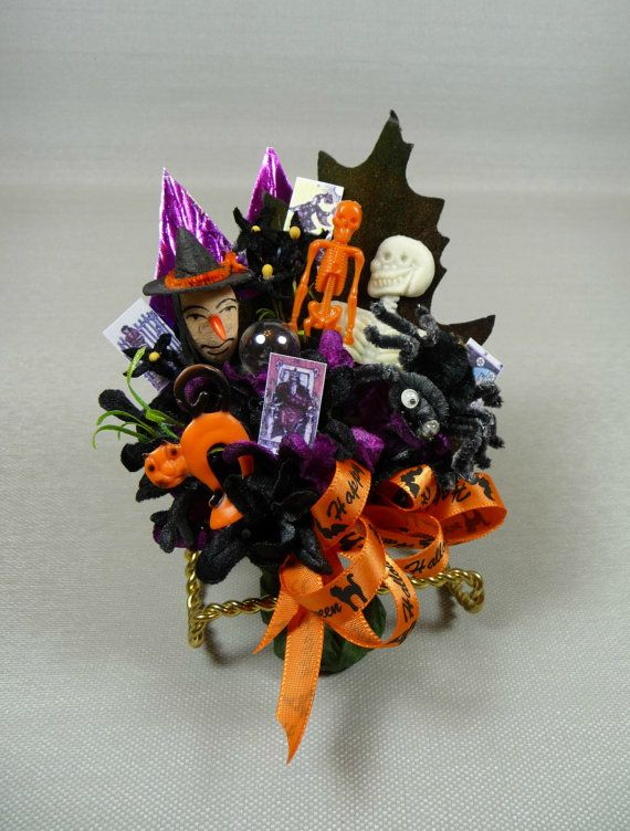 Vintage Halloween Corsage Spun Cotton Witch Spider Skeletons Crystal Ball Tarot Cards Decoration Halloween Crafts Halloween Ribbon Vintage Halloween
