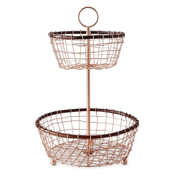 Copper Walnut 2 Tiered Fruit Basket Williams Sonoma