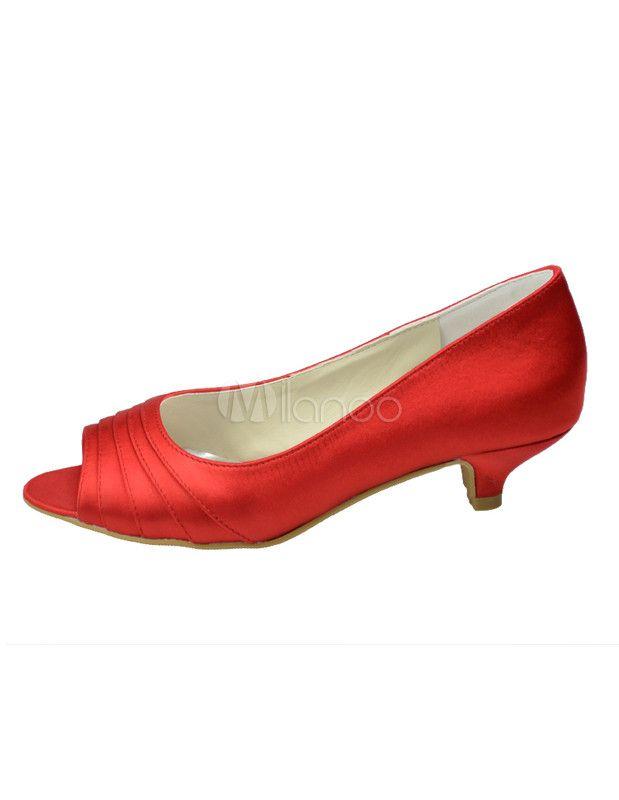 c8d66be1d25c41 Chaussures de mariée à petits talons rouges peep toe en satin - Milanoo.com
