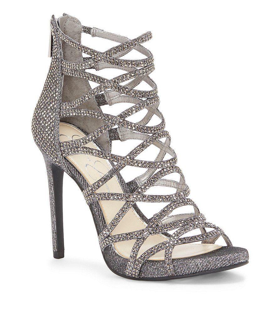 21b896da8a6e Jessica Simpson Razella2 Jeweled Metallic Caged Back Zip Dress Sandals