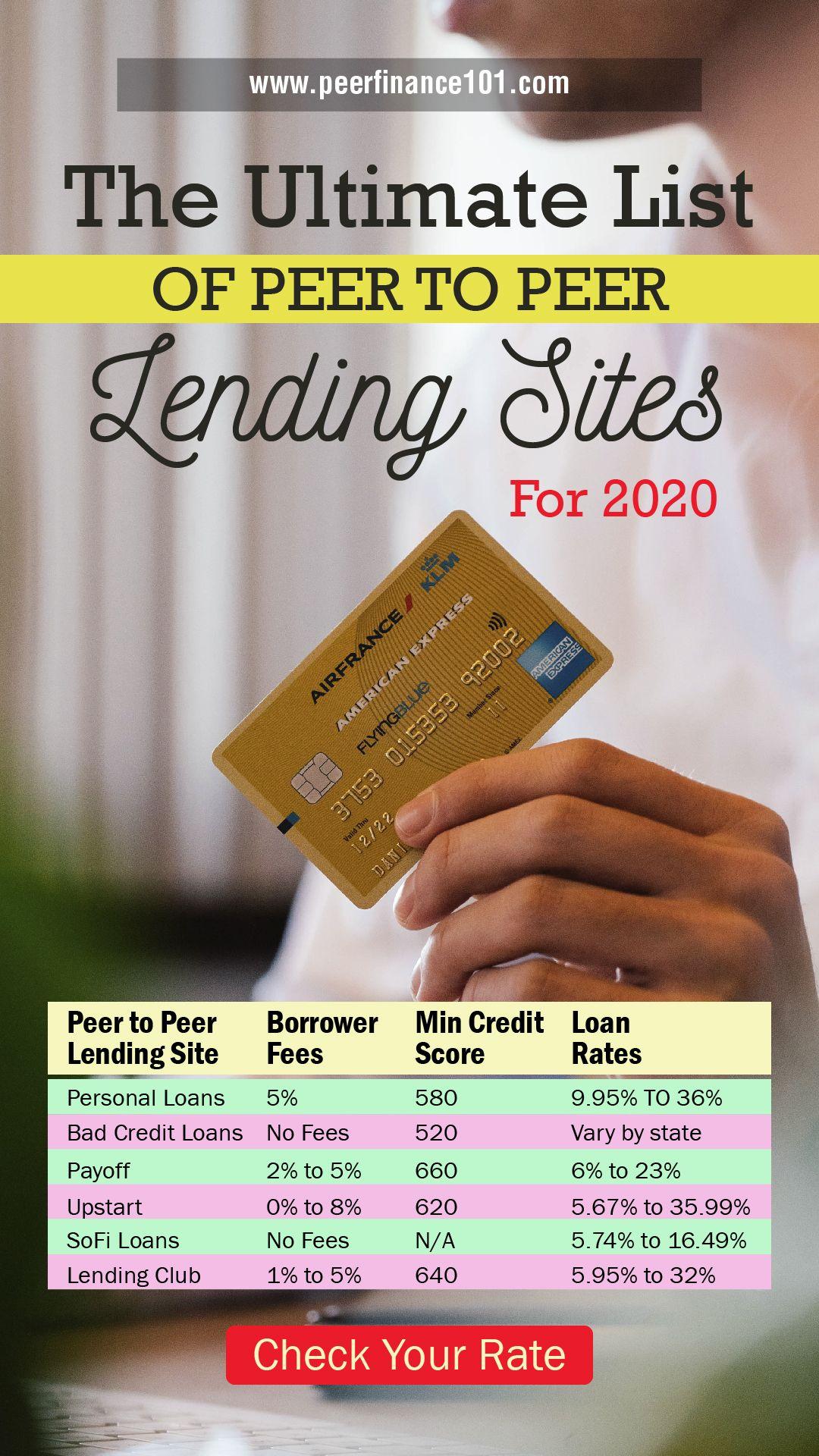 The Ultimate List Of Peer To Peer Lending Sites For 2020 In 2020 Peer To Peer Lending Lending Site Peer
