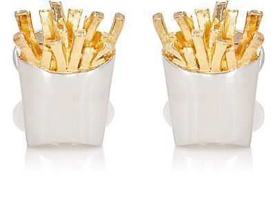 Silver French fry Cufflinks