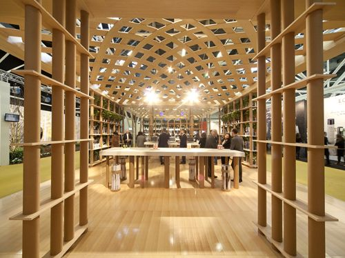 Paper Tubes >> Davines Booth | Bologna https://archiscapes.wordpress.com/2014/11/12/shigeru-ban-paper-tube-structures/