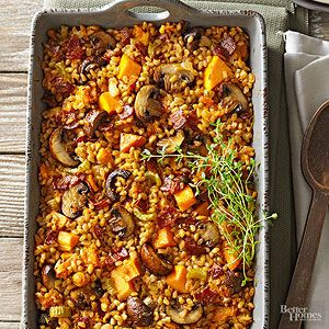 No holiday menu is complete without the dressing! This side-dish recipe is full of cold-weather favorites -- butternut squash, farro, rosemary, and pancetta -- and can be made 24 hours in advance.