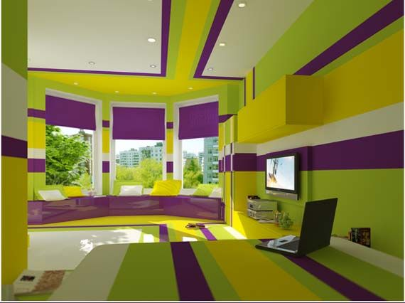 Green White And Purple Wow Purple Bedrooms Split Complementary Colors Purple Bedroom