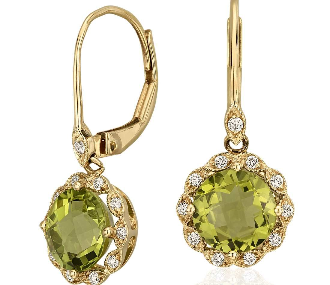 Peridot And Diamond Milgrain Halo Leverback Earrings In 14k Yellow Gold 7mm