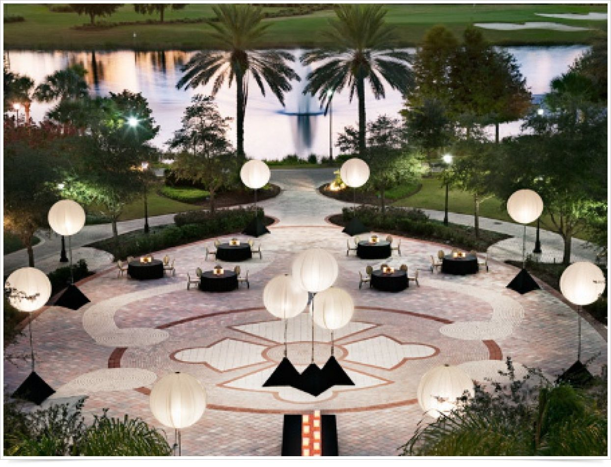 Outdoor Reception - globe lighting and dramatic table ...