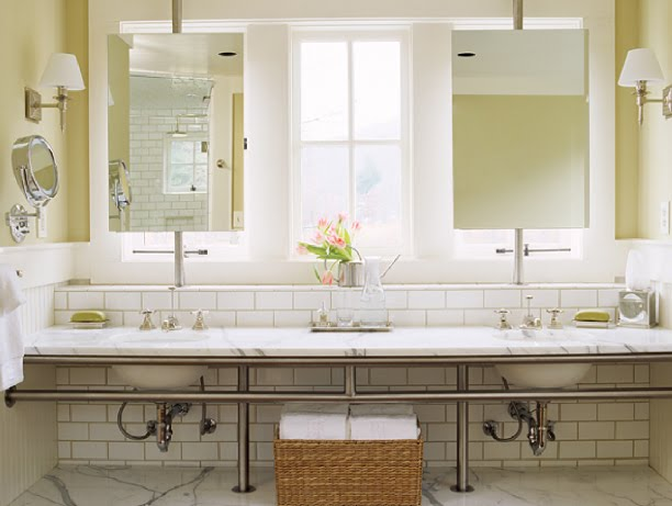 Bathroom Mirrors Over Windows stunning bathroom & great idea to mount mirrors in front of