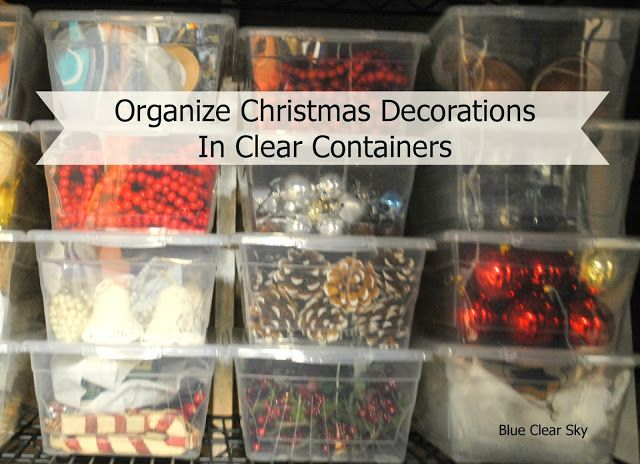 organize christmas decorations in clear storage totes makes finding items you need super easy when