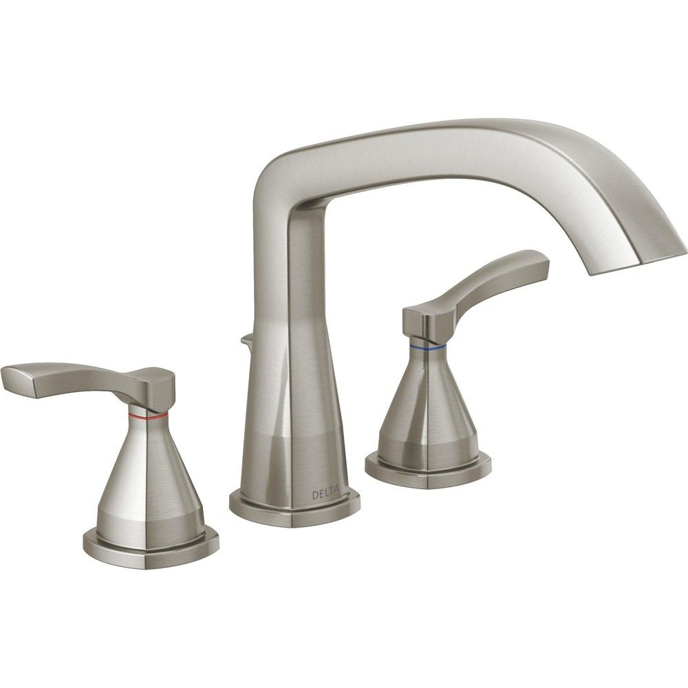 Delta Faucet T2776 Stryke Deck Mounted Roman Tub Filler Brilliance Stainless Roman Tub Faucets Tub Faucet Delta Stryke Delta roman tub faucet brushed nickel