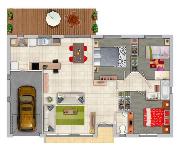Modle De Plan De Maison PlainPied Avec  Chambres Et Garage