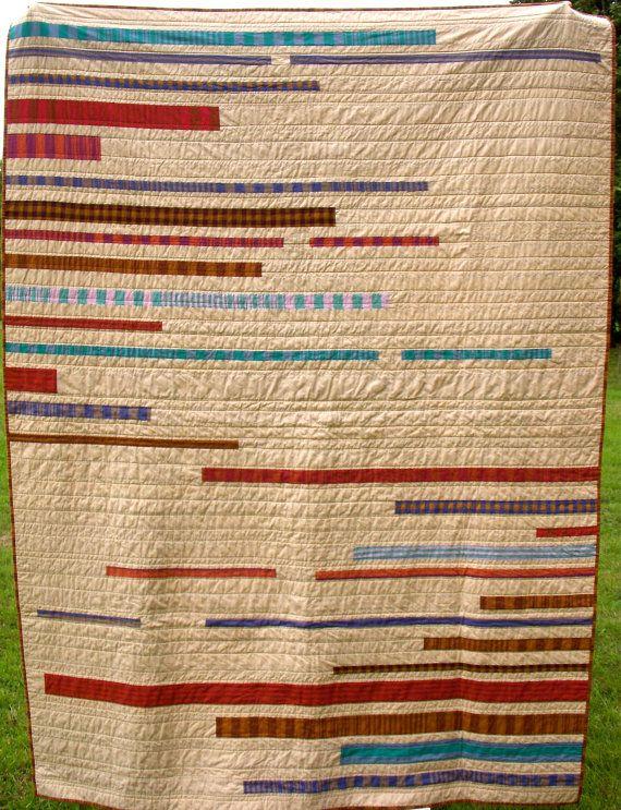 Modern Twin Quilt Woven Stripes Neutral Stripes by TwiggyandOpal