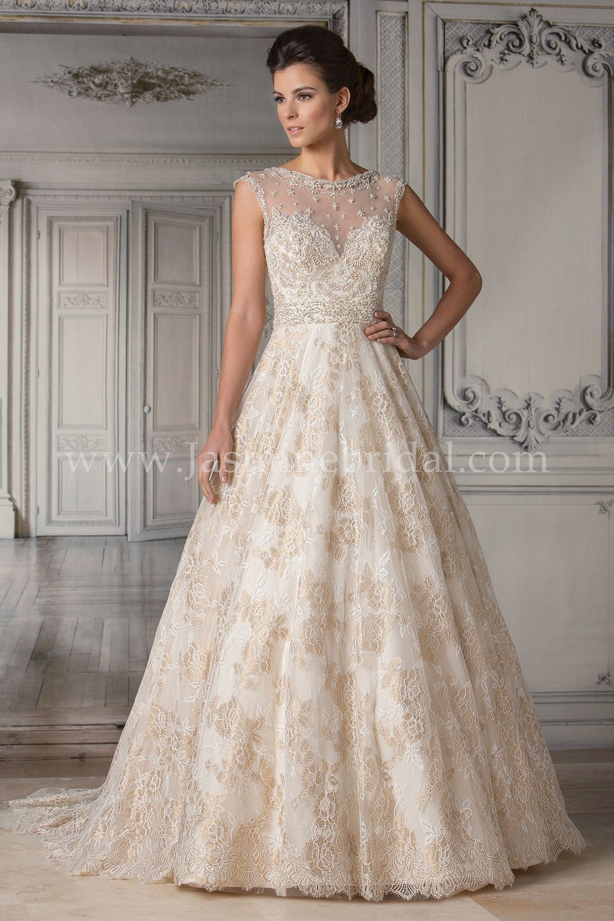 Jasmine bridal couture style t172053 in gold delicate for Wedding dresses with gold beading