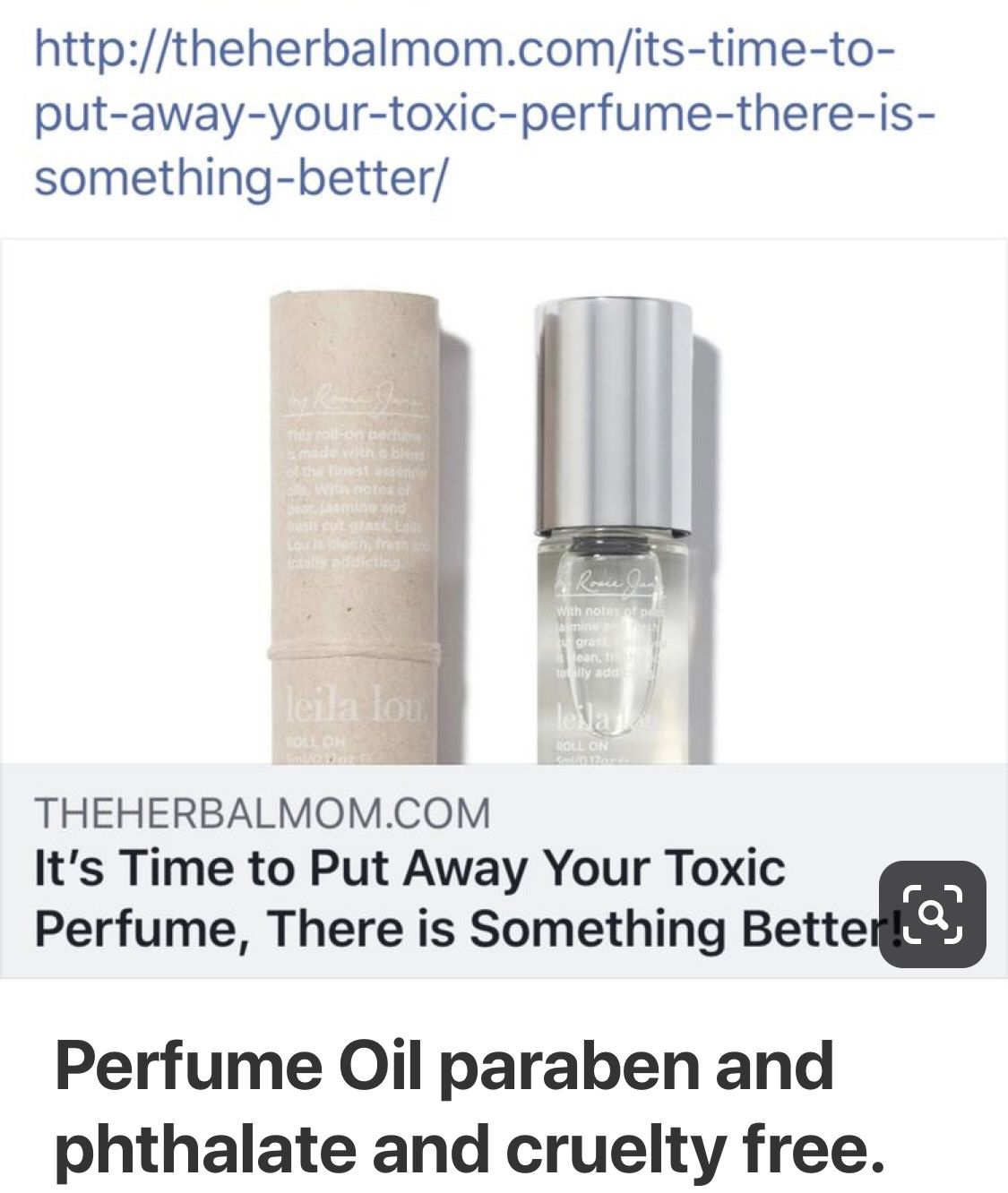 Perfume oil. Paraben and phthalate and cruelty free