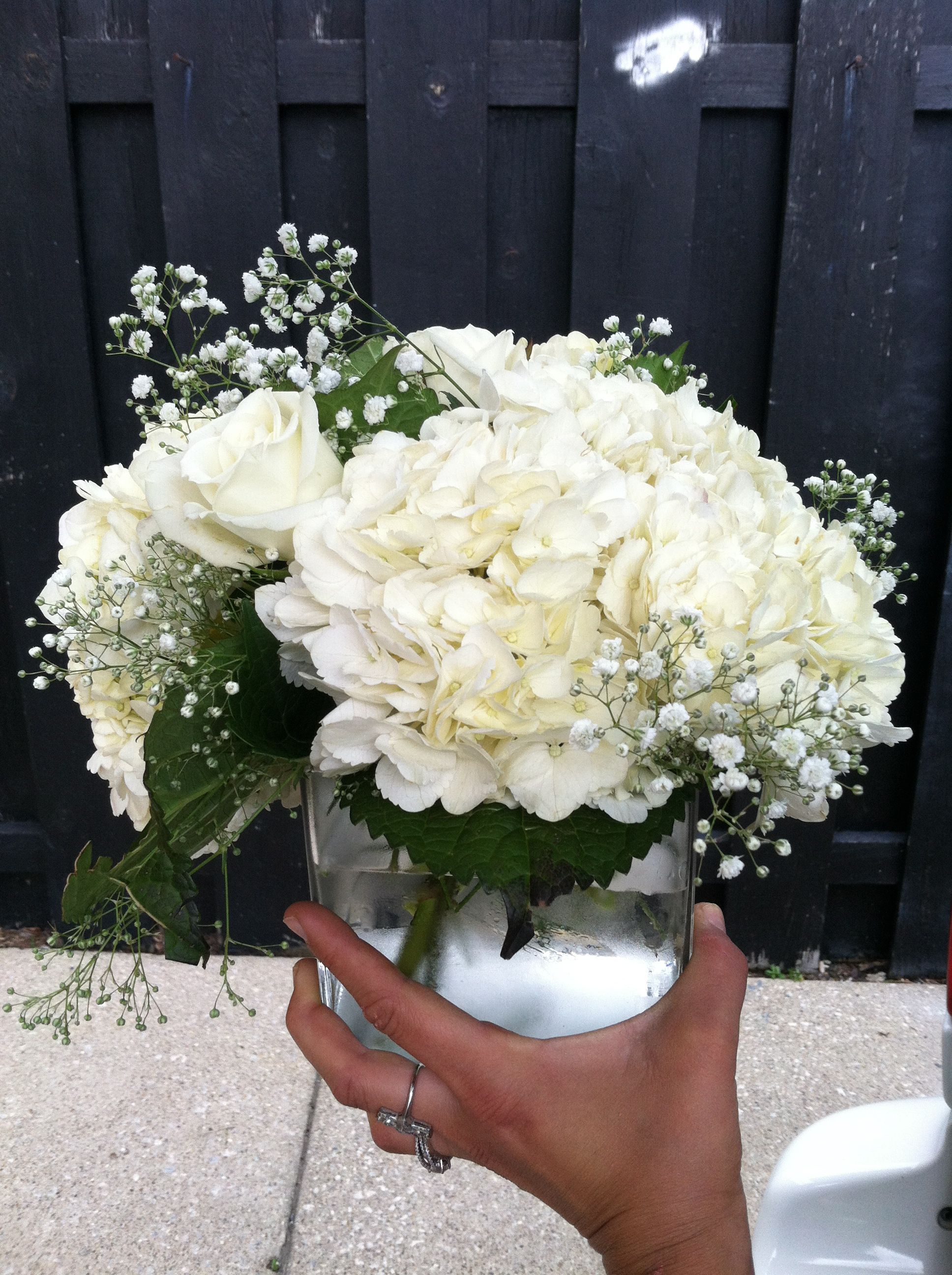 White Hydrangea White Rose And Babysbreath Centerpiece In Clear