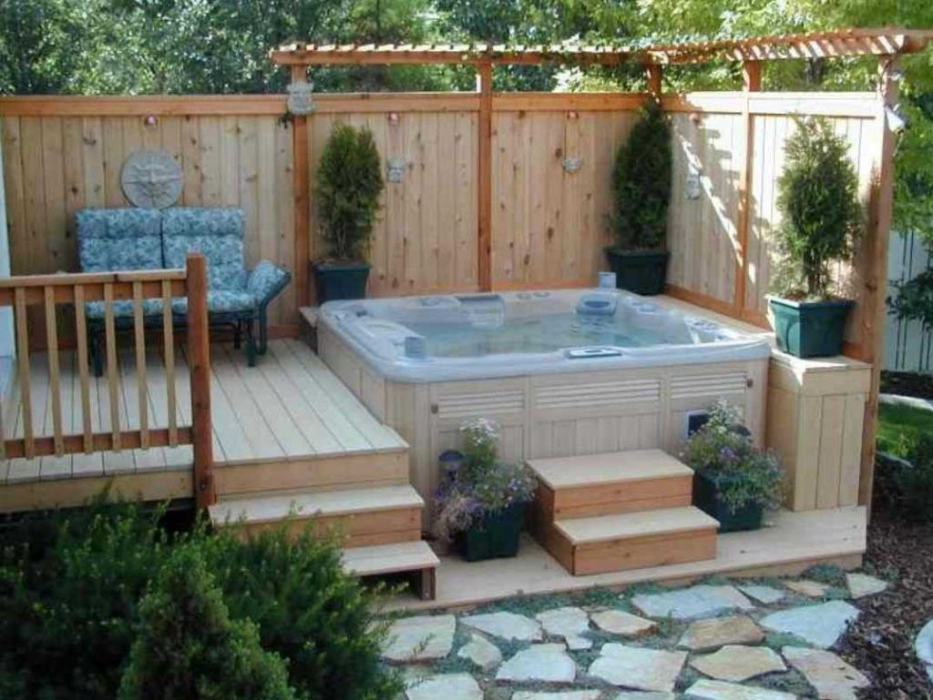 Above Ground Hot Tub Deck With Small Pergola | Home Ideas ...