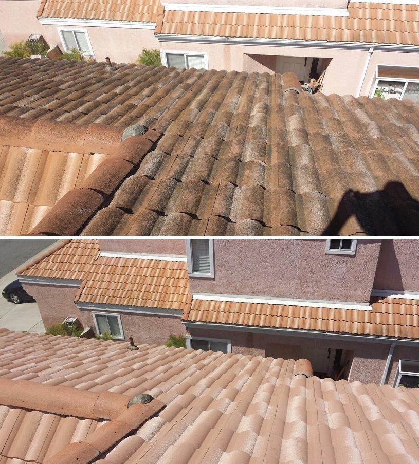 Before After Steam Cleaning A Tile Roof In Oceanside Ca Pressure Washing Services Roof Cleaning Roof