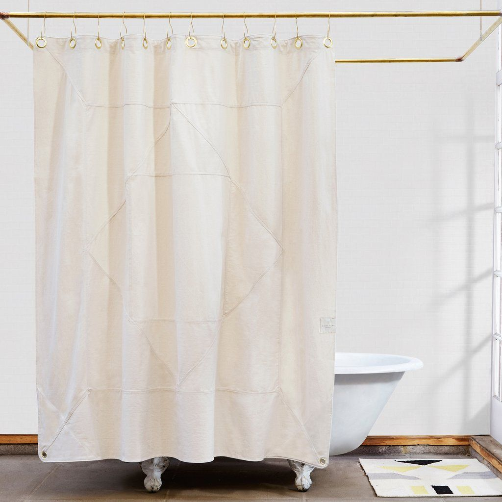 Subtle Natural Canvas Quilting On The Outside Bright Yellow Bound Quilted Seams Inside This Curtain Is Made From 100 GOTS Certified Organic