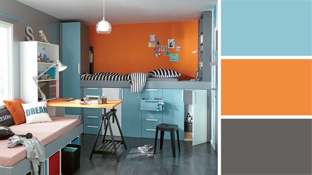 chambre orange et bleu | Quelle couleur pour une chambre d\'ado ...