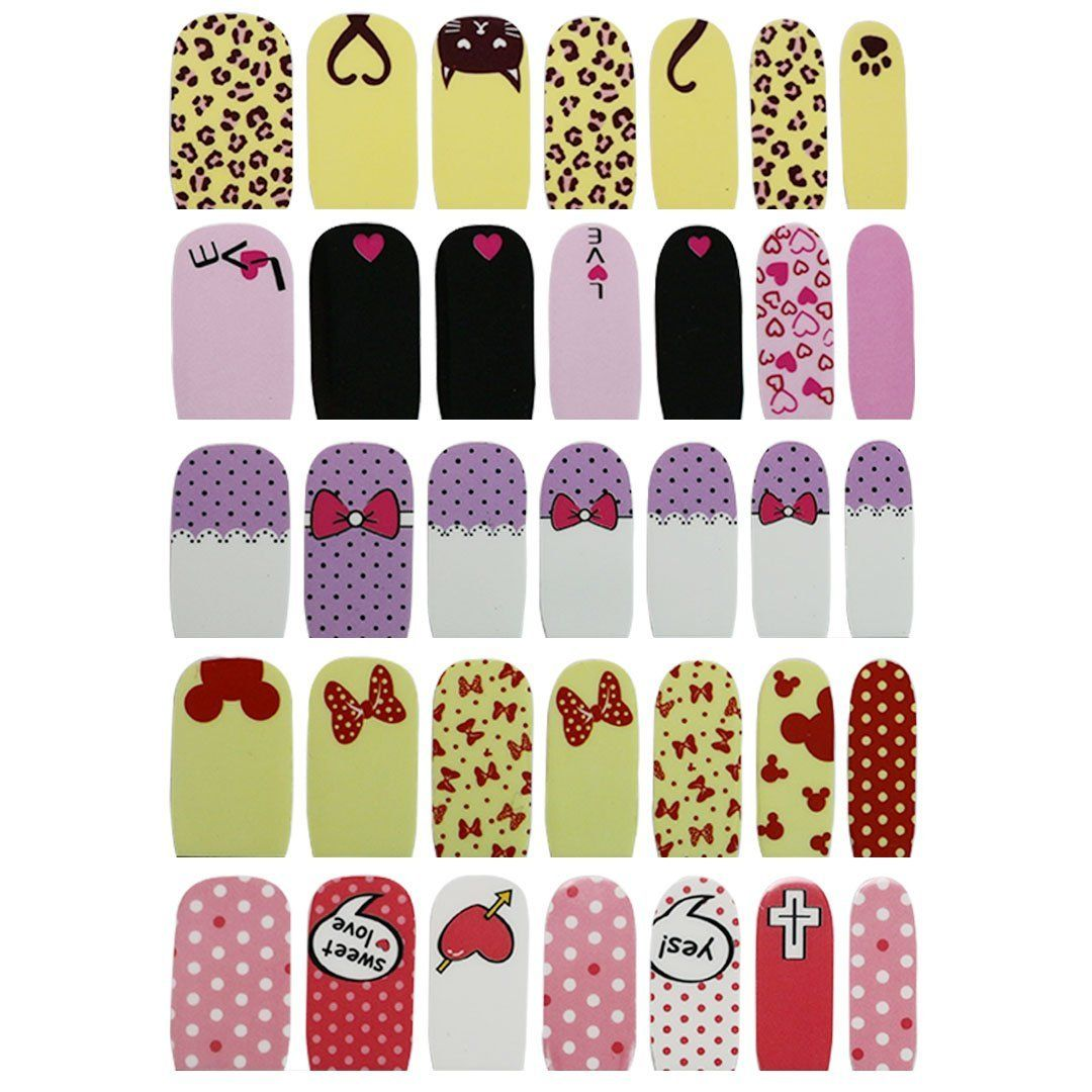Naimo 5 Pack False Nail Art Sticker Wrap Nail Stickers Decals Nail ...