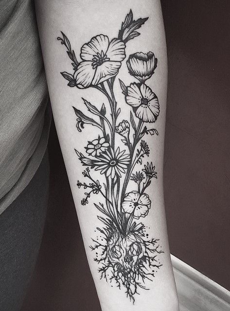 Image result for flower tattoos with roots