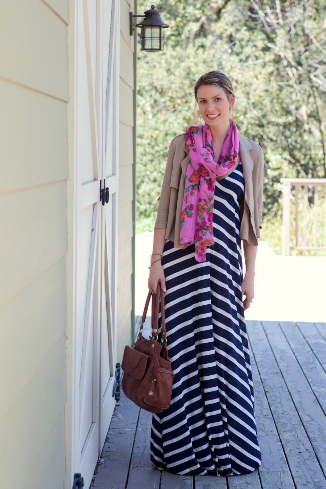 Stripes Striped Maxi With August Wrinkle Khaki Jacket & Floral Scarf
