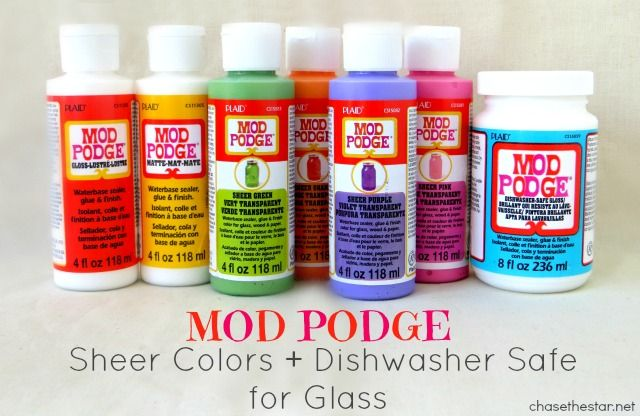 Mod Podge Sheer Colors for Glass plus Dishwasher Safe via #ChaseTheStar  #modpodge #plaidcrafts