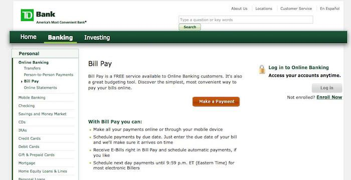 Td Bank Bill Pay Pay Your Bills Finance