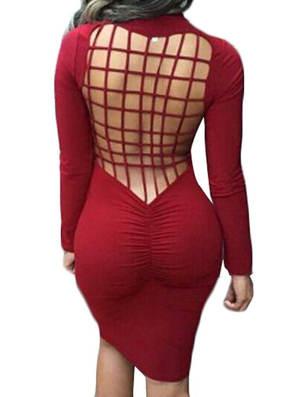 b5bf7365235 Women s Sexy Backless Stretch Bandage Nightclub Evening Dress - Wine ...