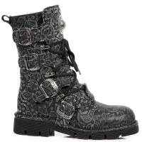 f0076f969957 New Rock Boots Floral Denim Effect Boots, 1473 Boots Planing Sole ...