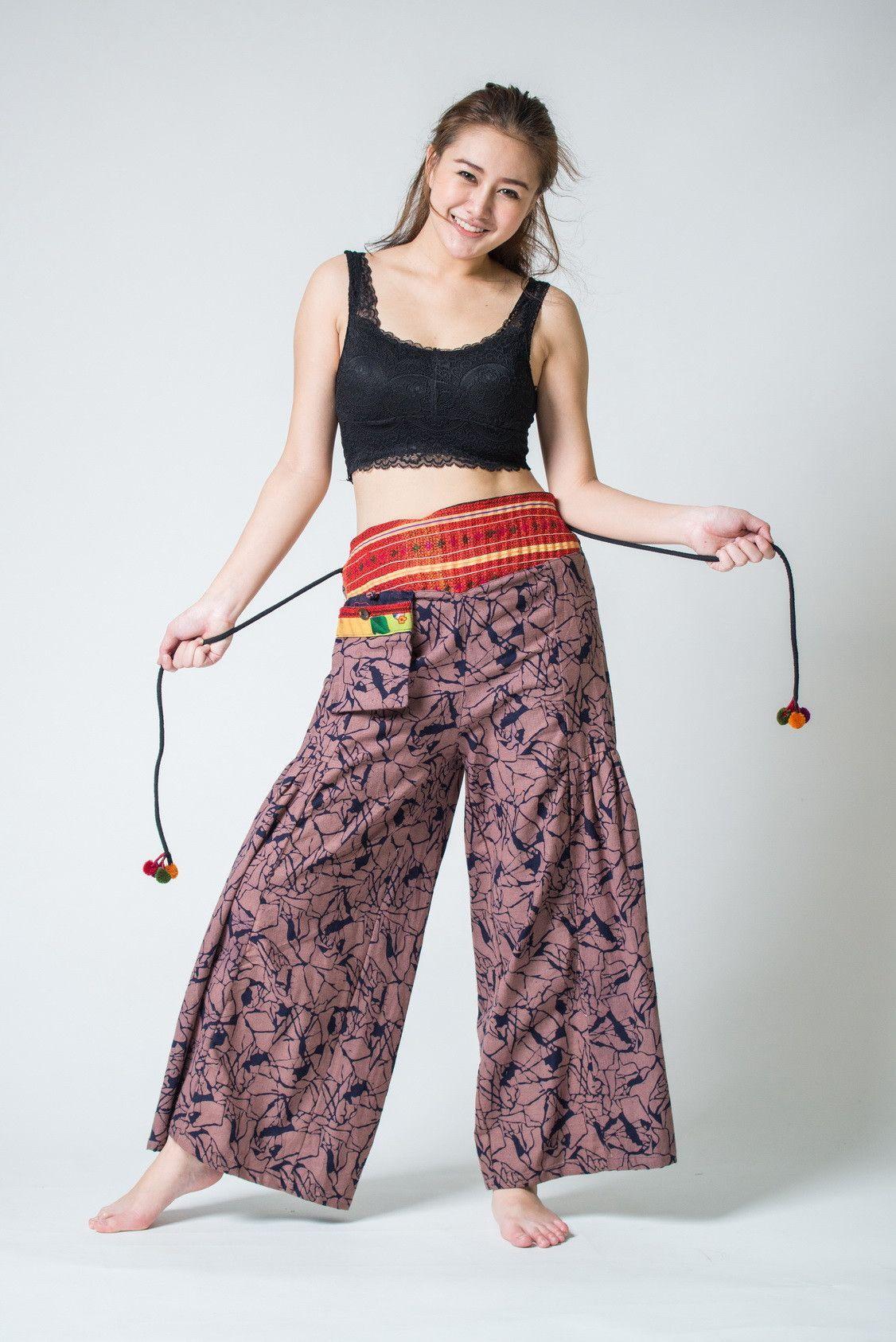Shattered Pattern Thai Hill Tribe Fabric Womens Palazzo Pants Mauve