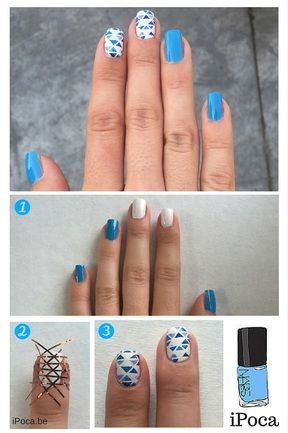 Step by step tutorial for this mosaic baby blue nail design. Perfect for the celebration of a newborn baby! Different shades of blue nail polish.