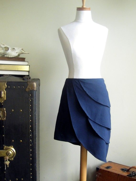Blue origami petal skirt - -high waist with vintage style charm -small