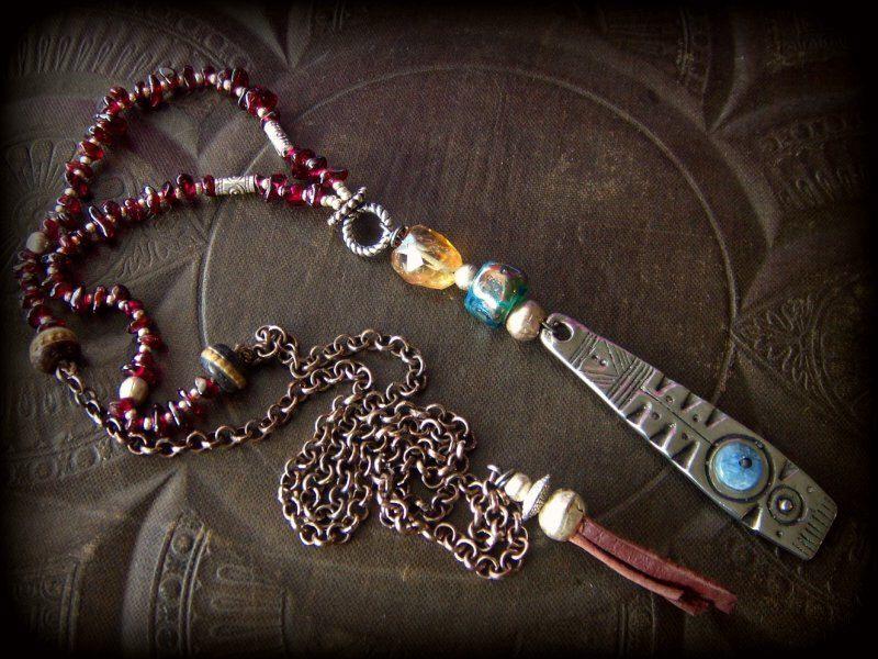 Citrine, Lamp work Glass, Silver Shield, Prayer
