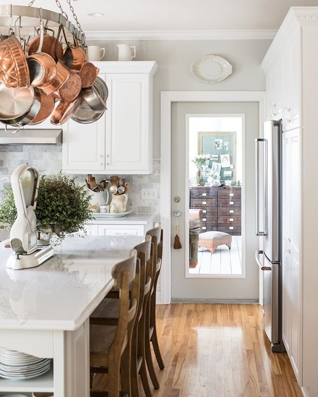 farmhouse kitchen update with new wall color farmhousekitchen farmhousestyle with images on farmhouse kitchen wall colors id=42423