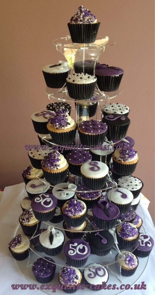 Purple Cupcakes For A Mans 50th Birthday