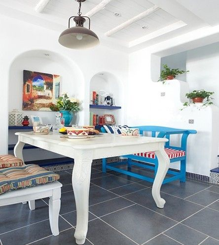 Dining room with charming Mediterranean style give sense of fresh