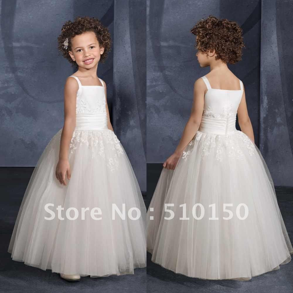 Ivory lace princess flower girl dresses tulle flower girl