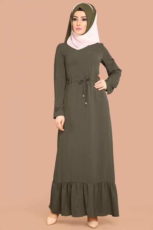 Beli Bagcikli Tesettur Elbise Akt4011 Haki Elbise Modelleri Elbise Islami Giyim