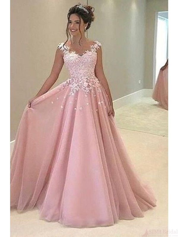Pink Applique Bodice Long Prom Dresses Evening Dresses(ED1665 ...